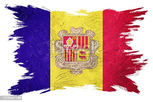 Grunge Andorra flag. Andorra flag with grunge texture. Brush stroke.