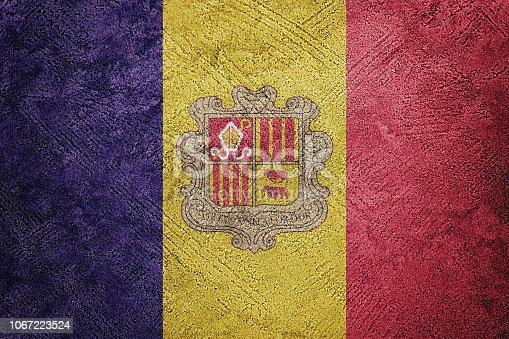 Grunge Andorra flag. Andorra flag with grunge texture.
