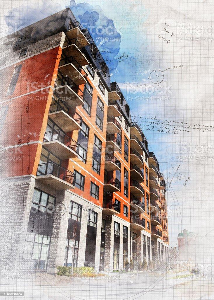 Grunge Apartment Building stock photo