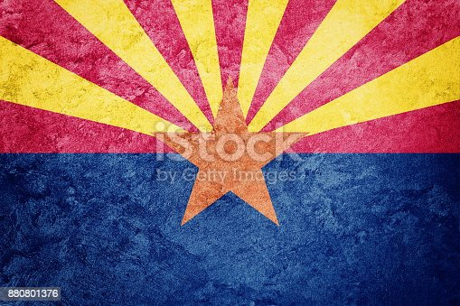 istock Grunge Arizona state flag. Arizona flag background grunge texture. 880801376