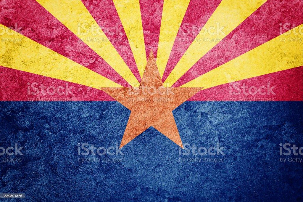 Grunge Arizona Staatsflagge. Arizona Flagge Grunge Hintergrundtextur. – Foto