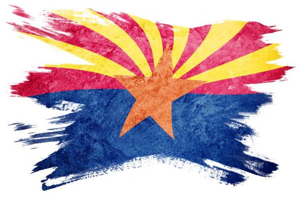 Bandeira grunge do estado do Arizona. Bandeira do Arizona escova derrame. - foto de acervo