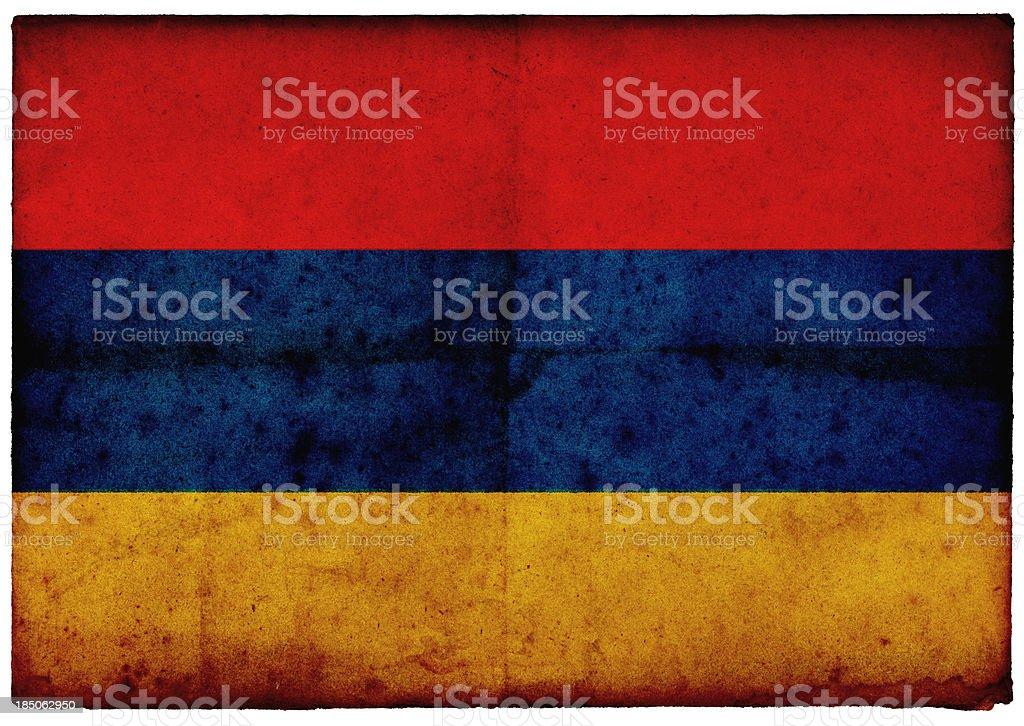 Grunge Armenian Flag on rough edged old postcard stock photo