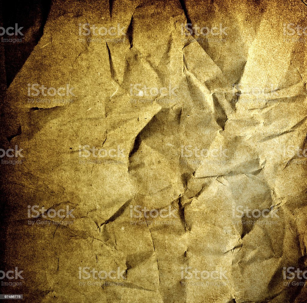 Grunge background - crumpled vintage old burnt paper royalty-free stock photo