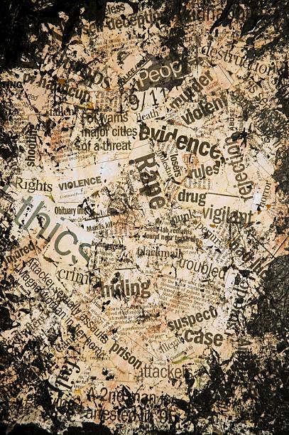 grunge hintergrund: zeitung clippings der kriminalität konzepte - kollagenblätter stock-fotos und bilder