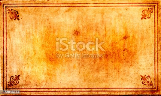 High resolution grunge background. The mucky leather cover of an old book, with an ornate border. Lots of detail close up.