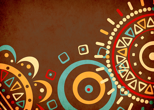 Grunge background with ethnicity ornaments and texture stucco of ochre color. Mock up template. Copy space for text