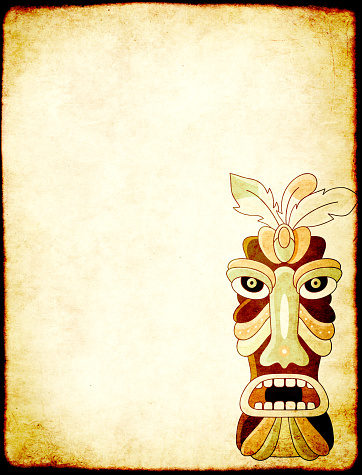istock Grunge background with old paper texture and tiki tribal mask 1181261247