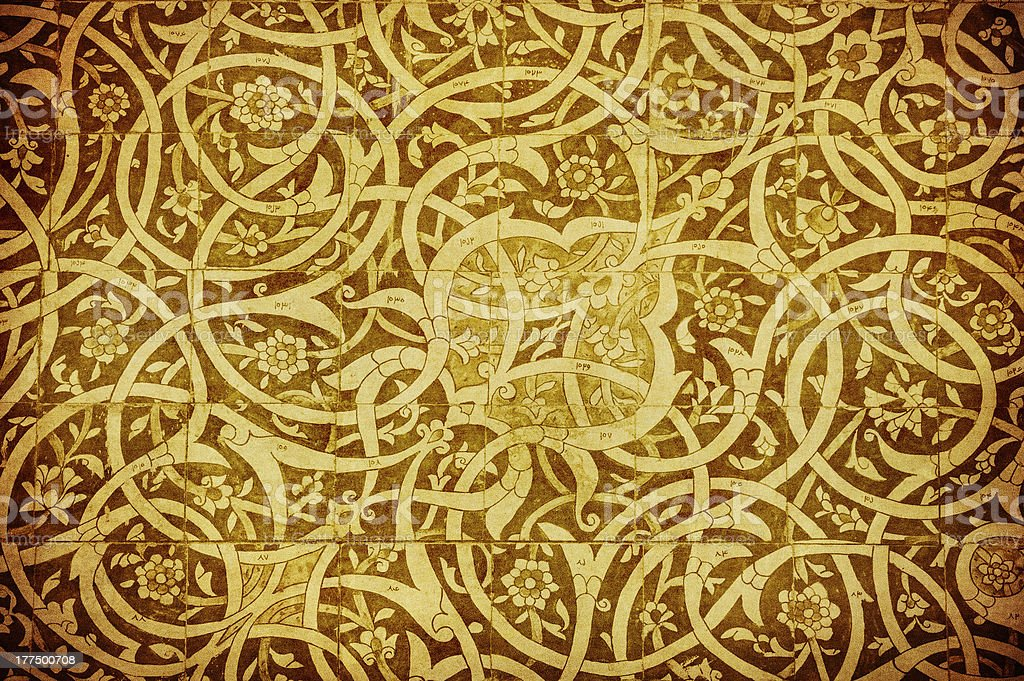 grunge background with oriental ornaments stock photo