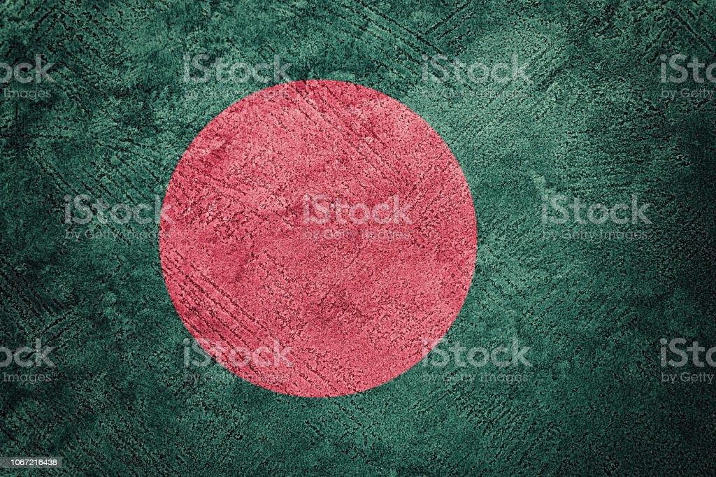Grunge Bangladesch Fahne. Bangladesch Fahne mit Grunge-Textur. – Foto
