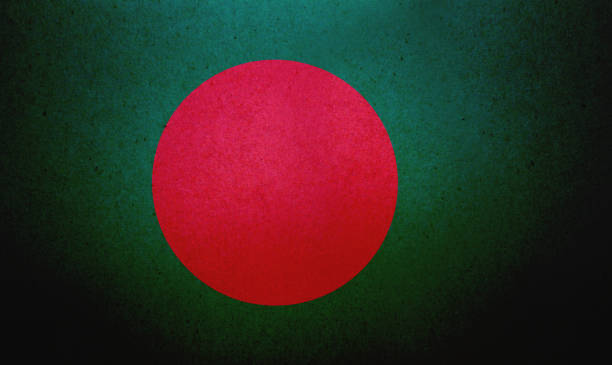 Grunge Bangladeshi flag printed on a paper stock photo