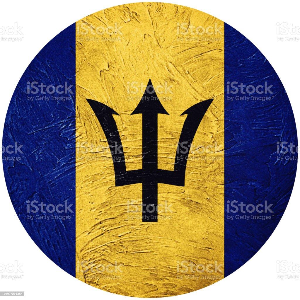 Grunge Barbados flag. Barbados button flag Isolated on white background stock photo