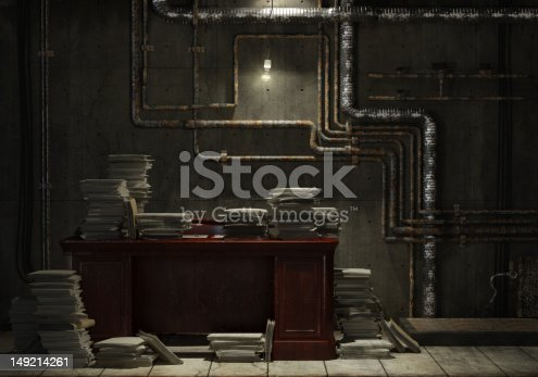 Grunge basement with desk and lots of stacked files as concept for slave of work in office