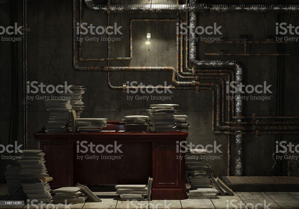 grunge basement office stock photo