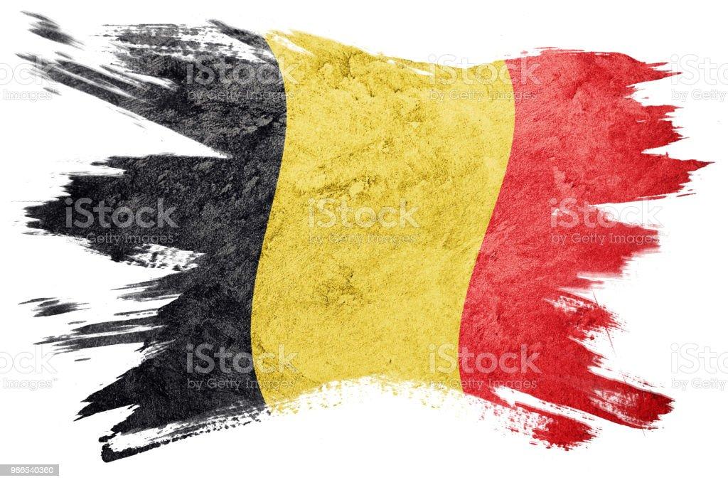 Bandera de Bélgica Grunge. Bandera belga con textura grunge. Trazo de pincel. - foto de stock
