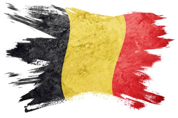 Grunge Belgium flag. Belgian flag with grunge texture. Brush stroke. stock photo