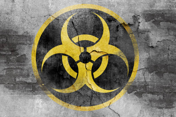 grunge biohazard symbol biohazard symbol on concrete wall decontamination stock pictures, royalty-free photos & images