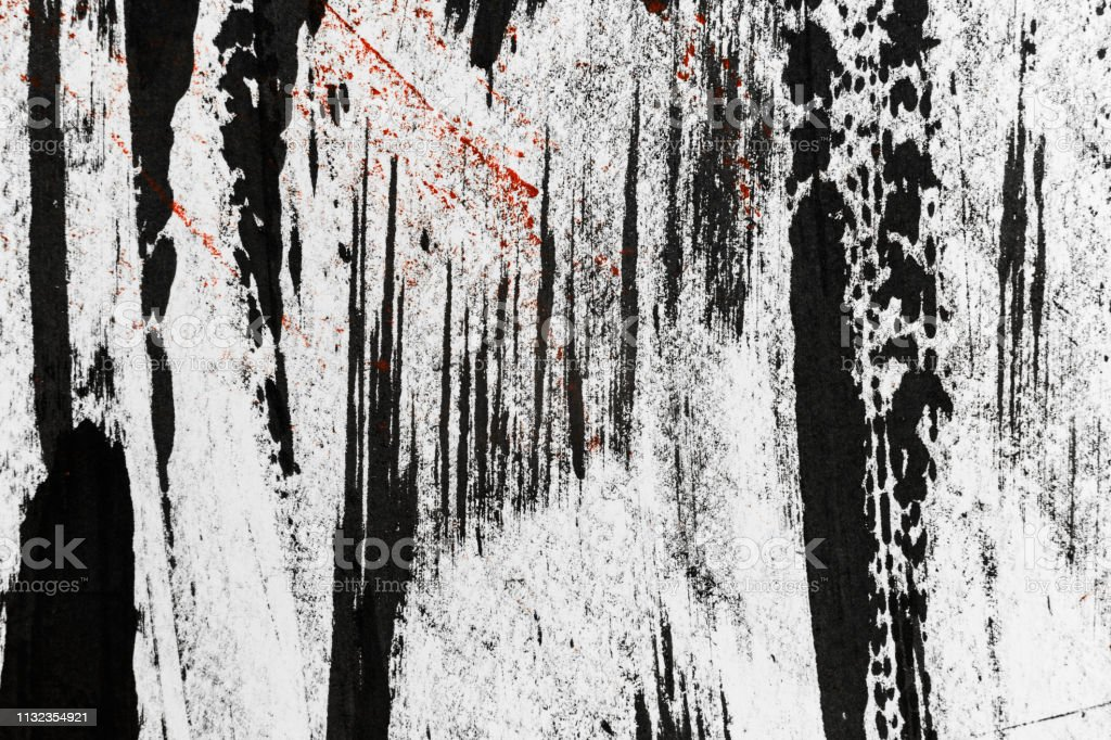 Black ink abstract stripes background. Hand drawn lines. Ink...
