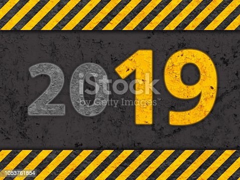 istock Grunge Black and Yellow Danger Pattern with Warning Text 2019 1053761854