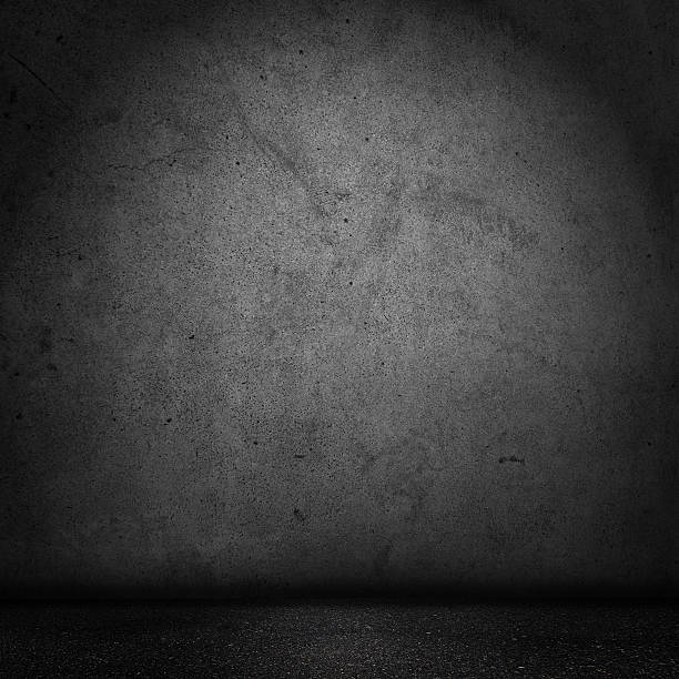 grunge black domestic room - cement floor stock photos and pictures