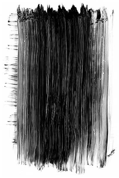 Grunge black paint brush stroke isolated on white stock photo
