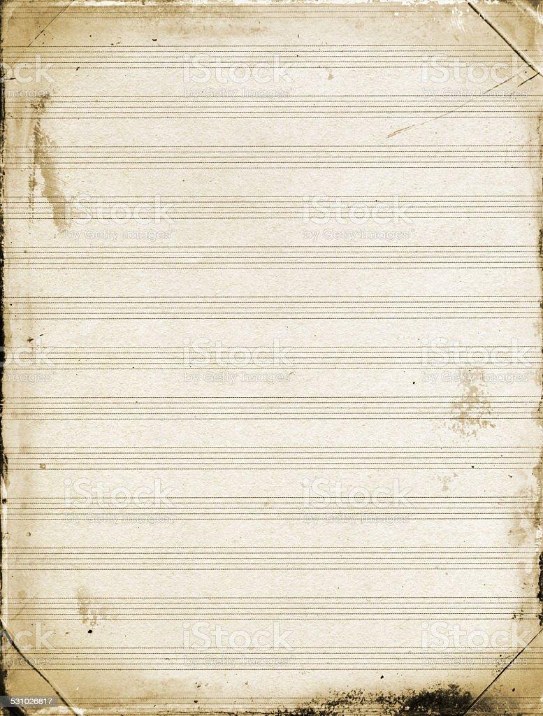 Grunge Blank Sheet Music Paper Background Textured stock photo