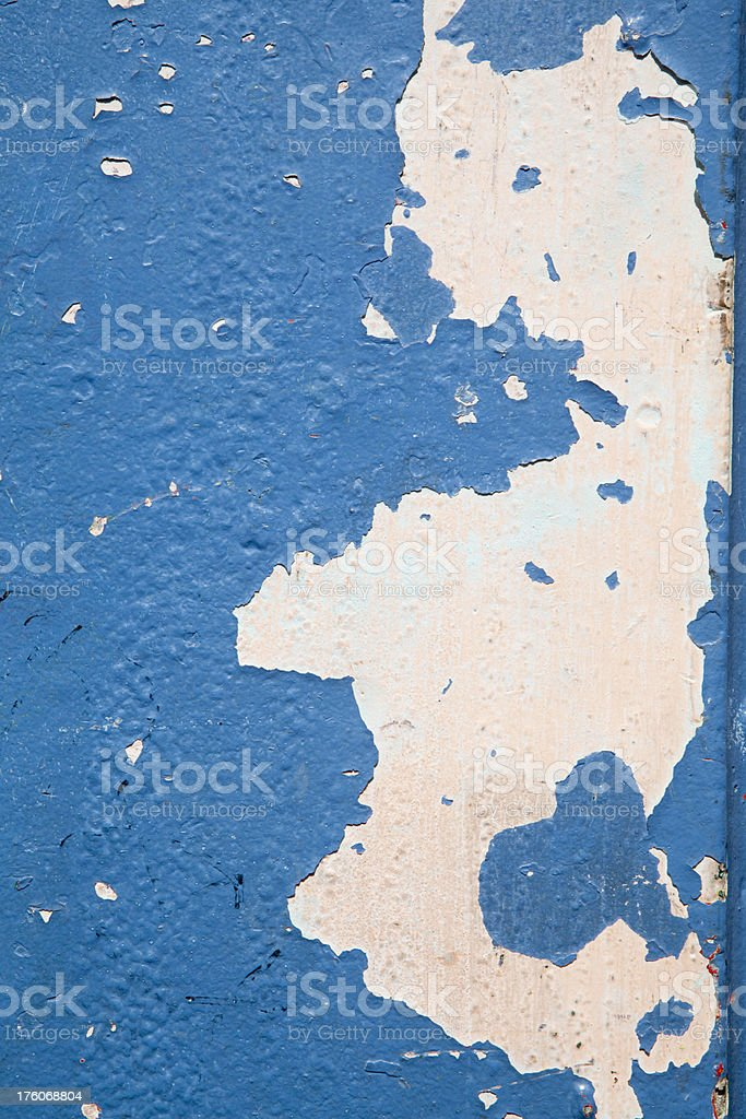 Grunge Blue Paint Peeling Off White Wall, Background royalty-free stock photo