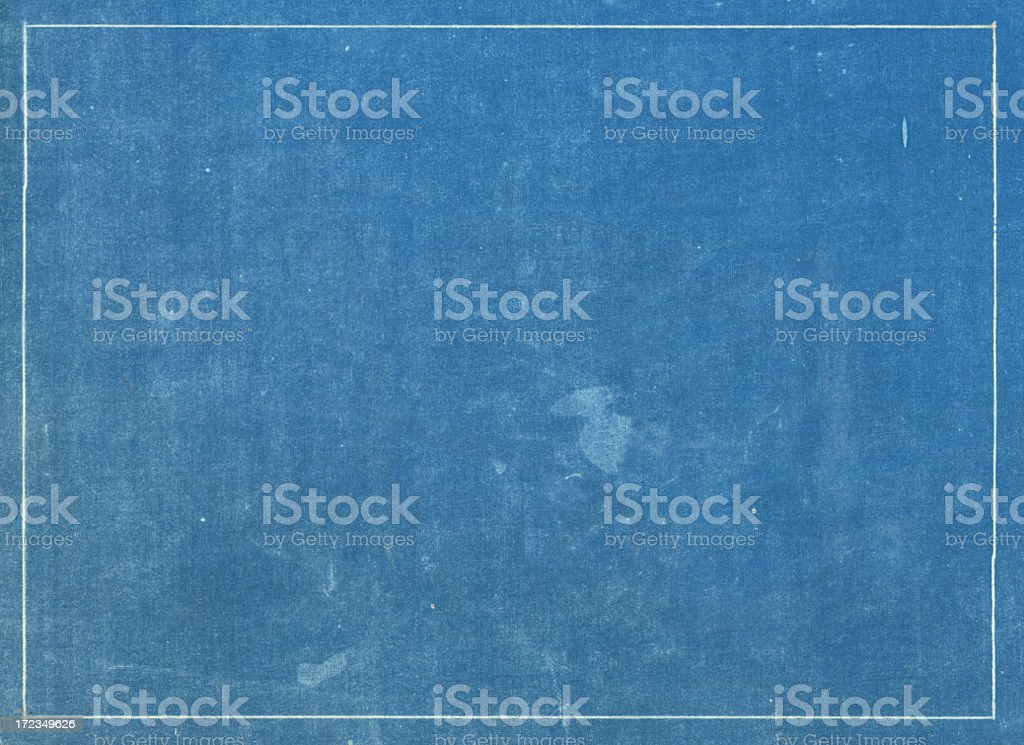 Grunge blue print texture with white line border bildbanksfoto