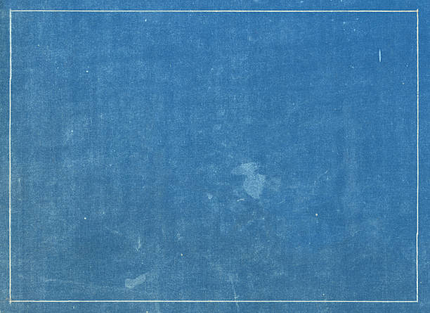 Grunge blue print texture with white line border stock photo