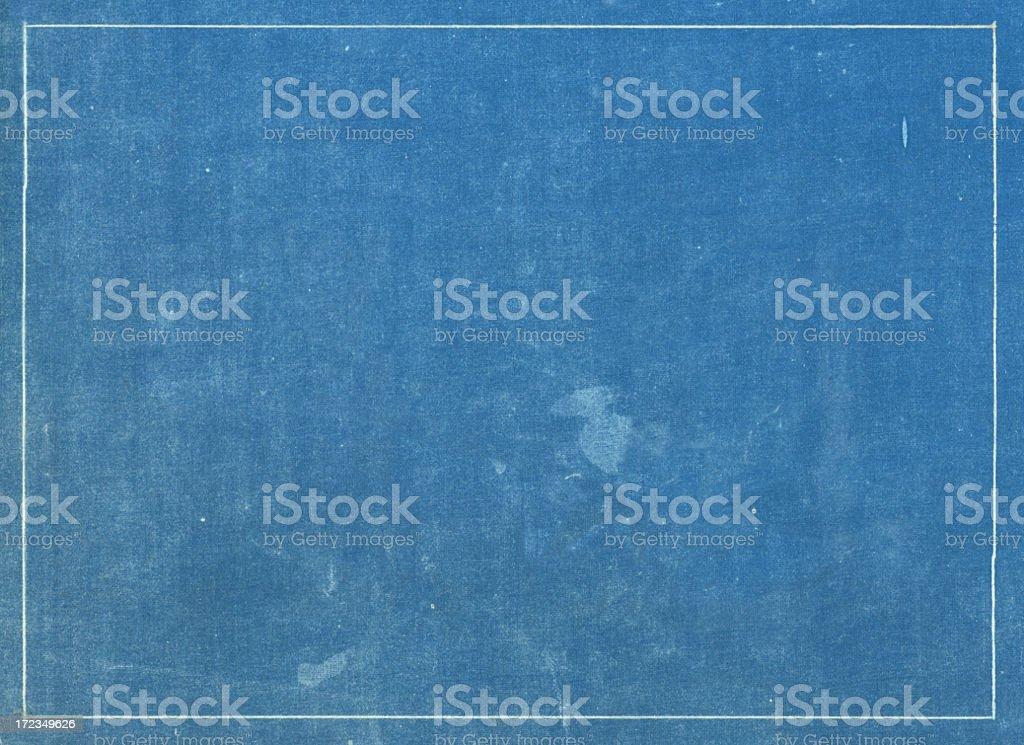 Grunge Blue Print Texture With White Line Border Stock Photo