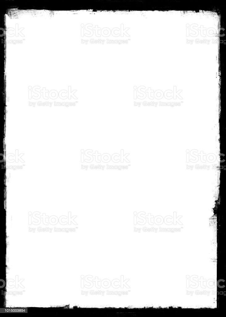 Grunge Border Frame With Dark Black Painted Brush Strokes ...