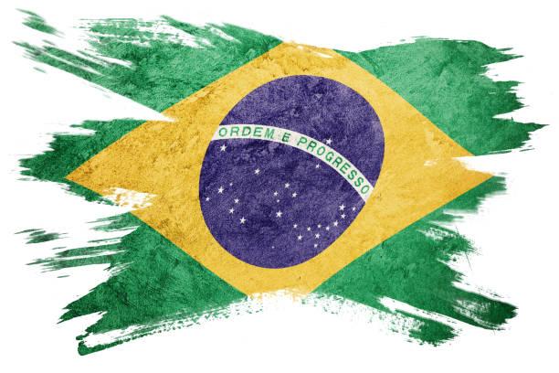 Grunge Brasil flag. Brazilian flag with grunge texture. Brush stroke. stock photo