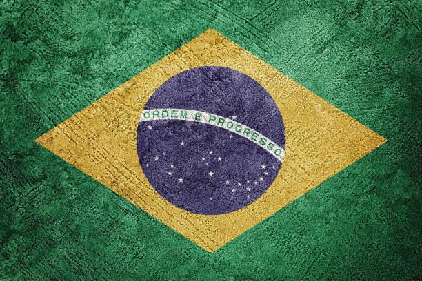 Grunge Brasil flag. Brazilian flag with grunge texture. stock photo
