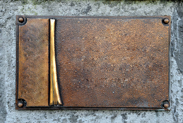 Grunge brass plate, empty frame, blank space background usage stock photo