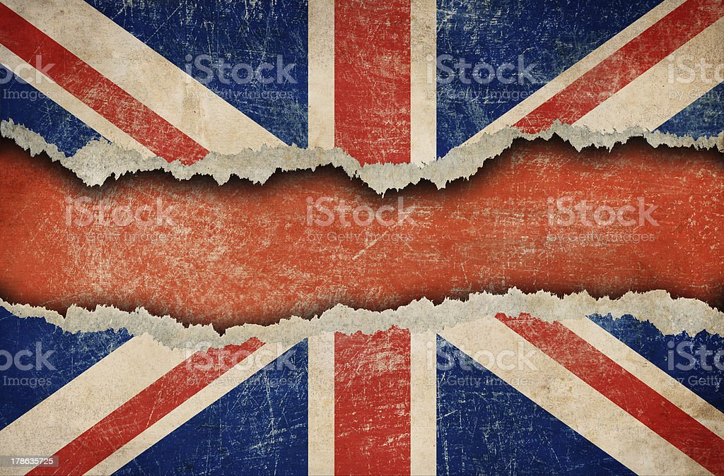 Grunge British flag on ripped paper stock photo