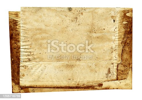 182216417 istock photo Grunge brown notepad page paper textured background isolated 1205716759