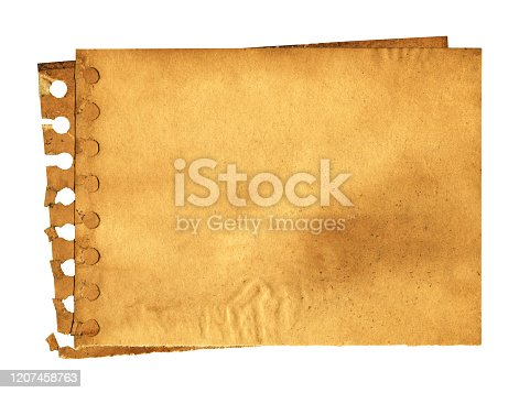 182216417 istock photo Grunge brown notepad page paper textured background isolated 1207458763