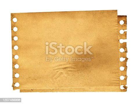 182216417 istock photo Grunge brown notepad page paper textured background isolated 1207486998