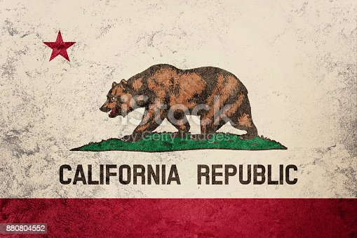 istock Grunge California state flag. California flag background grunge texture. 880804552