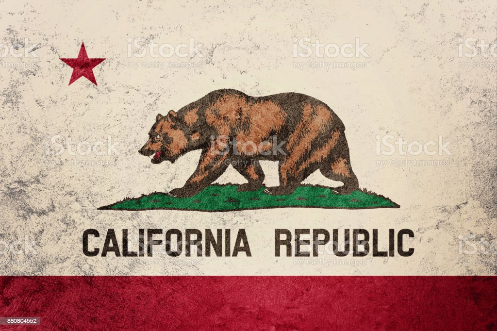 Grunge California state flag. California flag background grunge texture. stock photo