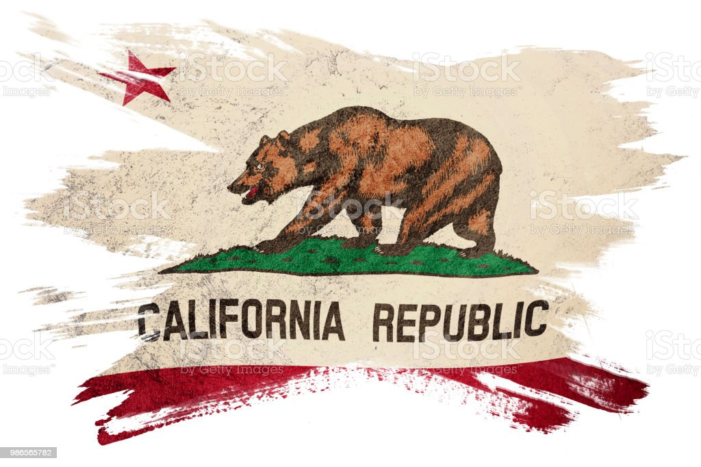 Bandera de estado de California de Grunge. Bandera de California cepillo movimiento. - foto de stock