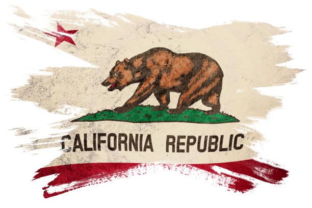 Grunge California State Flag Brush Stroke Stock Photo