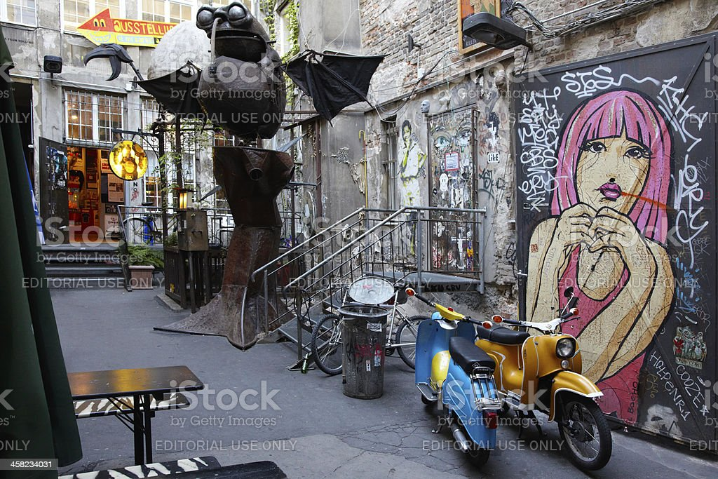Grunge characteristic art court in Berlin stock photo