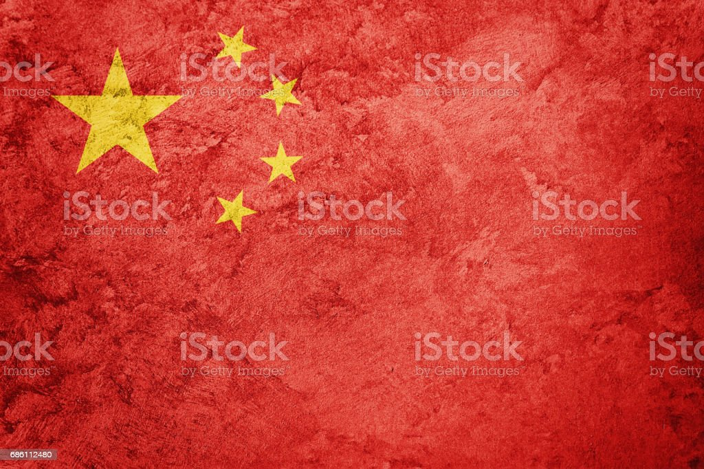 Grunge China flag. Chines flag with grunge texture. stock photo