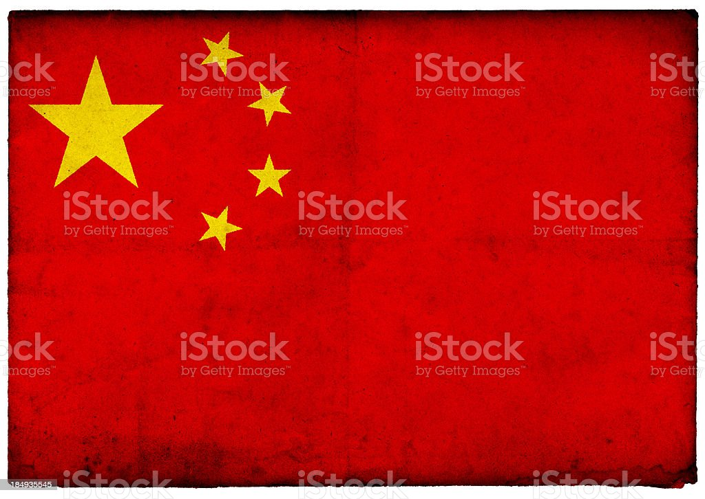 Grunge Chinese Flag on rough edged old postcard stock photo