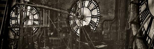 Grunge clock tower works stock photo