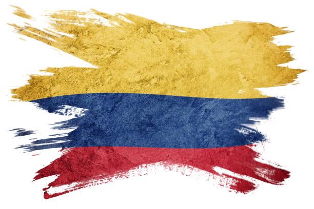 bandera de colombia de grunge. bandera colombiana con textura grunge. trazo de pincel. - bandera colombiana fotografías e imágenes de stock