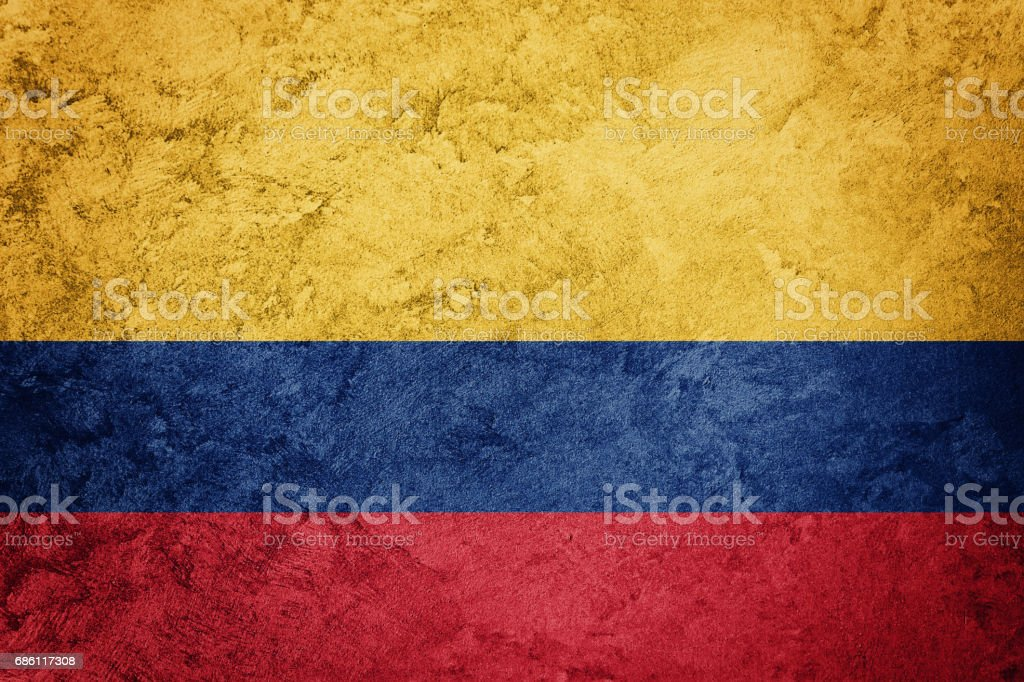 Grunge Colombia flag. Colombian flag with grunge texture. stock photo