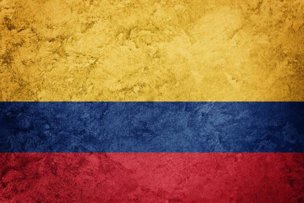 bandera de colombia de grunge. bandera colombiana con textura grunge. - bandera colombiana fotografías e imágenes de stock