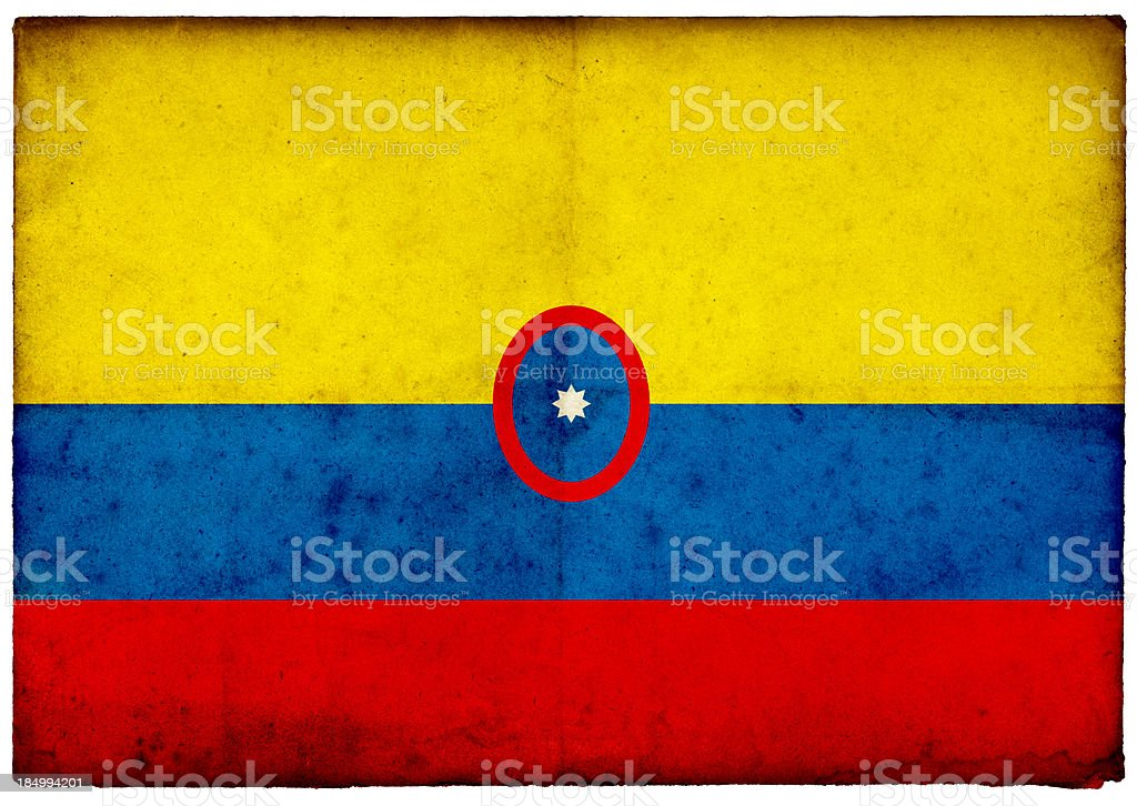 Grunge Colombian Flag On Rough Edged Old Postcard Stock Photo More